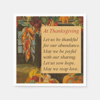 Vintage Harvest Scene Thanksgiving Poem Disposable Napkins