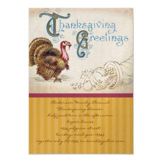 """Vintage Harvest Thanksgiving Dinner Invitations 5"""" X 7"""" Invitation Card"""