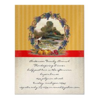 """Vintage Harvest Thanksgiving Dinner Invitations 4.25"""" X 5.5"""" Invitation Card"""