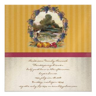 "Vintage Harvest Thanksgiving Dinner Invitations 5.25"" Square Invitation Card"
