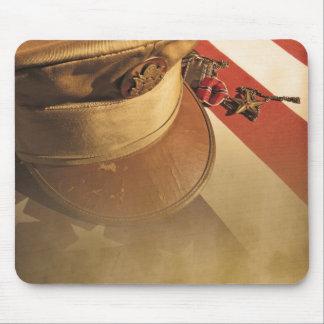 Vintage Hat, Flag, Medal Veterans Day Mouse Pad