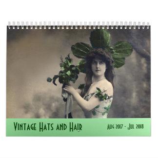 Vintage Hats and Hair ---Aug 2017 - Jul 2018 Wall Calendar
