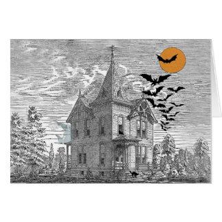 Vintage Haunted House Halloween Custom Birthday Card