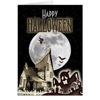 Vintage Haunted House Halloween Greeting Card