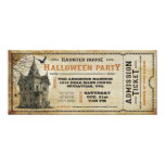 Vintage Haunted House Halloween Party Ticket I 10cm X 24cm Invitation Card