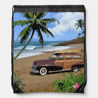 Vintage Hawaii Drawstring Bag