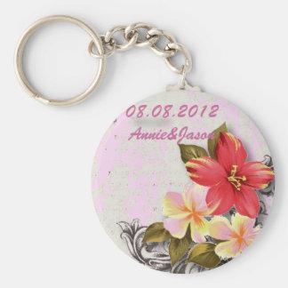 vintage hawaii hibiscus floral tropical wedding key ring