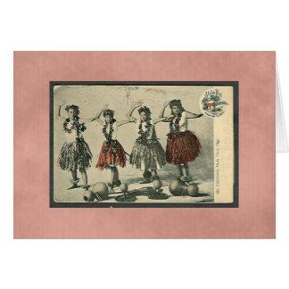 Vintage Hawaii Hula Dancers Card-All Occasion Card