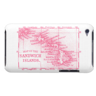 Vintage Hawaii Map, Pink iPod Case-Mate Case