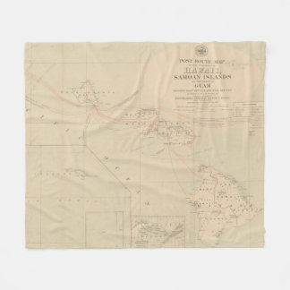 Vintage Hawaii Postage Route Map (1903) Fleece Blanket