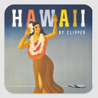 Vintage Hawaii Tourism Poster Scene Square Sticker