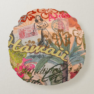 Vintage Hawaii Travel Colorful Hawaiian Tropical Round Pillow