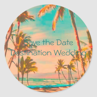 Vintage Hawaiian Beach Scene Classic Round Sticker