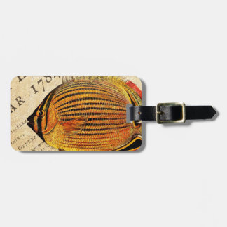 Vintage Hawaiian Butterfly Fish Customized Antique Travel Bag Tag