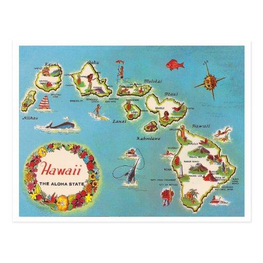 Vintage Hawaiian Map Post Card