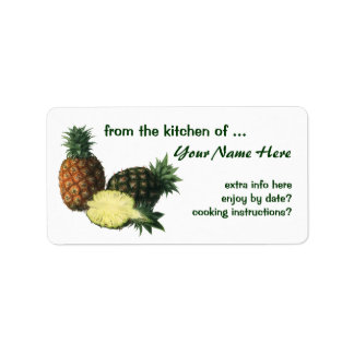 Vintage Hawaiian Pineapples, Organic Food Fruit Label