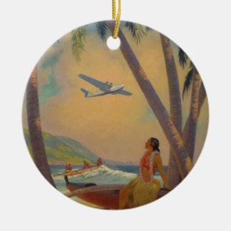 Vintage Hawaiian Travel - Hawaii Girl Dancer Ceramic Ornament