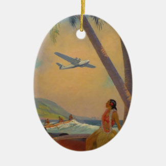 Vintage Hawaiian Travel - Hawaii Girl Dancer Ceramic Oval Decoration