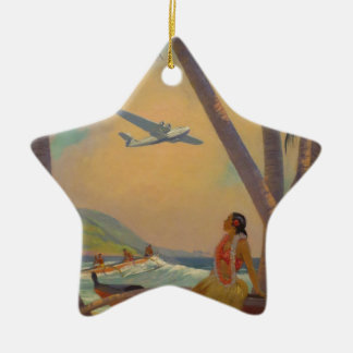 Vintage Hawaiian Travel - Hawaii Girl Dancer Ceramic Star Decoration