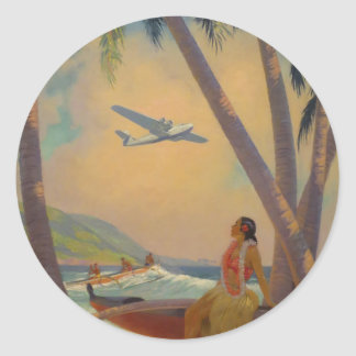 Vintage Hawaiian Travel - Hawaii Girl Dancer Classic Round Sticker