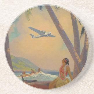 Vintage Hawaiian Travel - Hawaii Girl Dancer Coaster