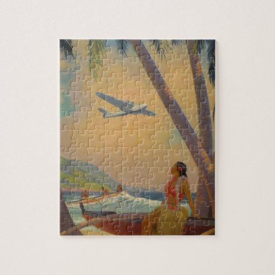 Vintage Hawaiian Travel - Hawaii Girl Dancer Jigsaw Puzzle