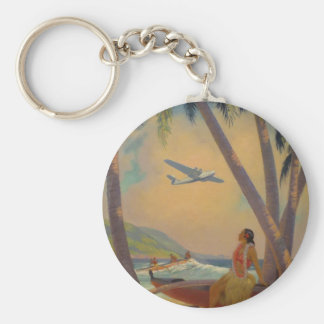 Vintage Hawaiian Travel - Hawaii Girl Dancer Key Ring