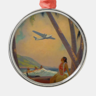 Vintage Hawaiian Travel - Hawaii Girl Dancer Metal Ornament
