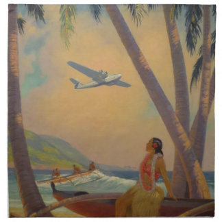 Vintage Hawaiian Travel - Hawaii Girl Dancer Napkin