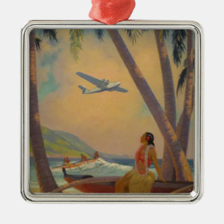 Vintage Hawaiian Travel - Hawaii Girl Dancer Silver-Colored Square Decoration