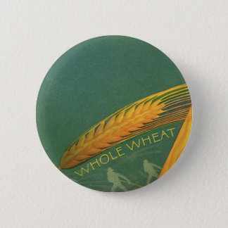 Vintage Healthy Foods, Whole Grain Wheat Bread 6 Cm Round Badge