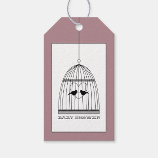 Vintage Heart Birdcage Baby Shower Gift Tags
