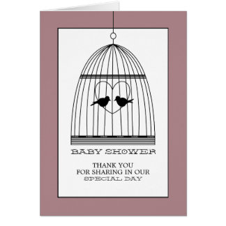 Vintage Heart Birdcage Baby Shower Thank You Card