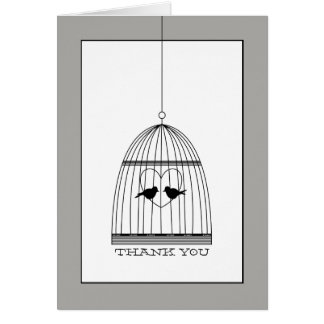 Vintage Heart Birdcage Wedding Thank You Card