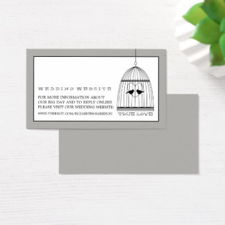 Vintage Heart Birdcage Wedding Website Business Card