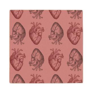 Vintage Heart Illustration Maple Wood Coaster