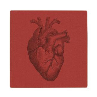 Vintage Heart Illustration Wood Coaster