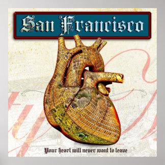 Vintage Heart in San Francisco Poster