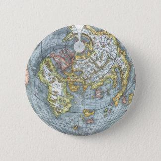 Vintage Heart Shaped Antique World Map Peter Apian 6 Cm Round Badge