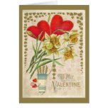 Vintage Hearts and Daffodils Valentines Day Greeting Cards