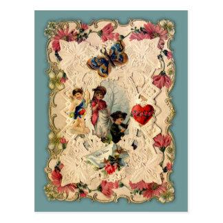 Vintage Hearts and Flowers Valentine Postcard