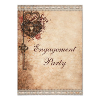Vintage Hearts Lock and Key Engagement Party 11 Cm X 16 Cm Invitation Card