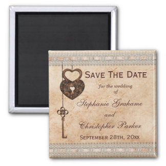 Vintage Hearts Lock and Key Wedding Save The Date Square Magnet