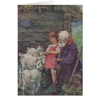 Vintage - Heidi and Grandfather with The Sheep, Card