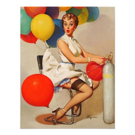 Vintage helium Party balloons Elvgren Pin up Girl Invites