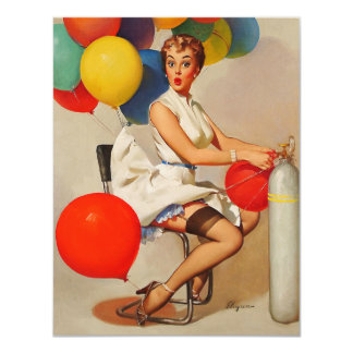 Vintage helium Party balloons Elvgren Pin up Girl Invites