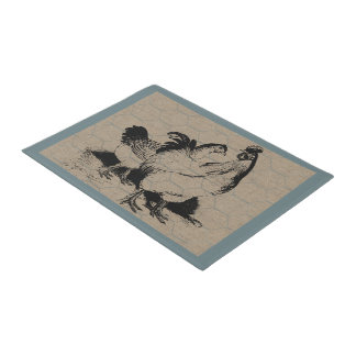 Vintage Hen and Rooster Country Farm and Pets Doormat