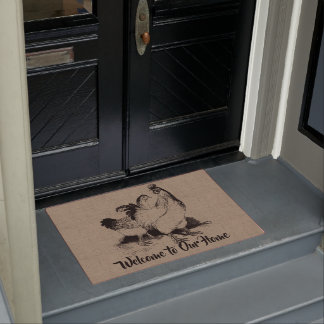 Vintage Hen and Rooster - Country Farm and Pets Doormat