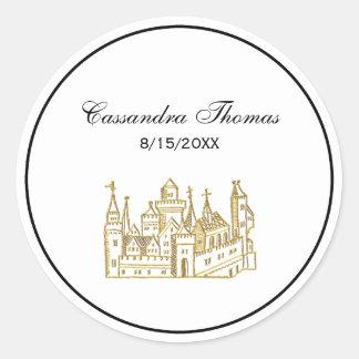 Vintage Heraldic Castle #2 Crest Faux Gold Classic Round Sticker