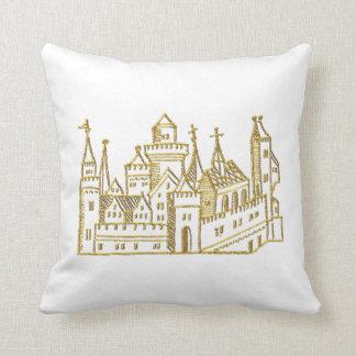 Vintage Heraldic Castle #2 Crest Faux Gold Cushion